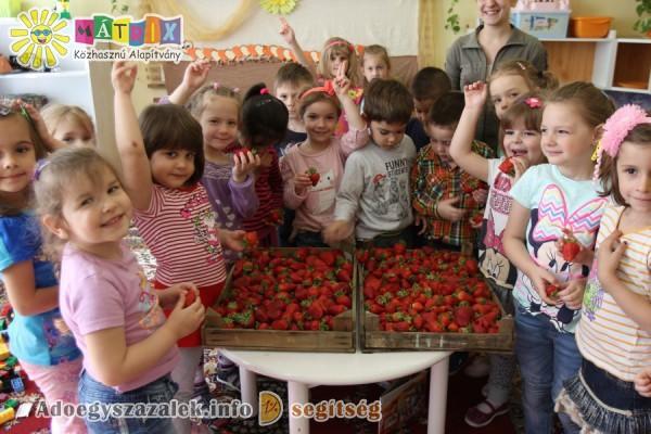 Friss gyümölccsel is támogattuk az óvodákat a felajánlott adó 1%-oknak is köszönhetően